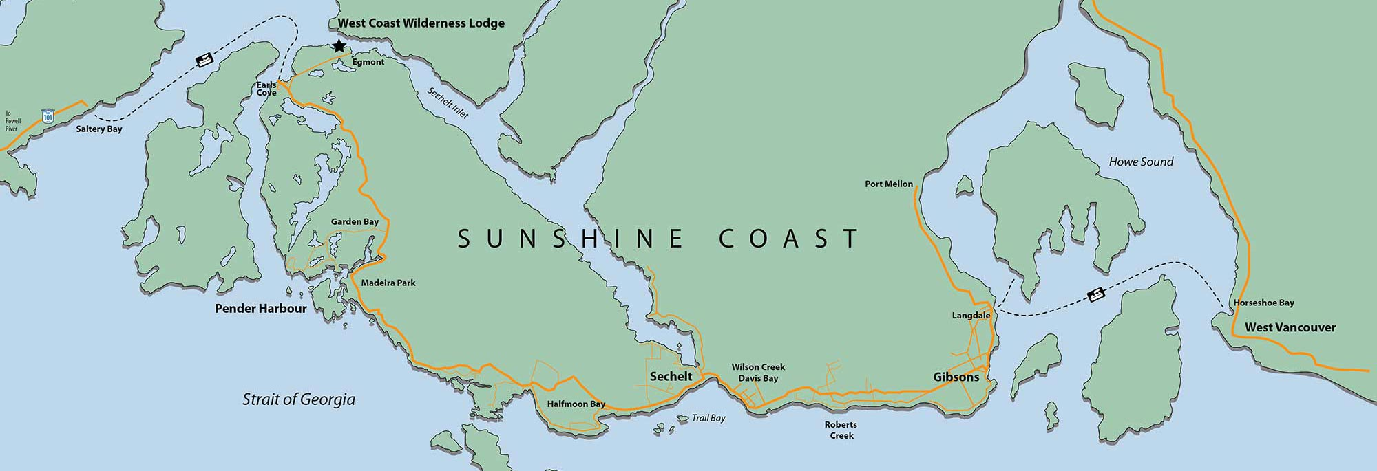 Map of Sunshine Coast, BC