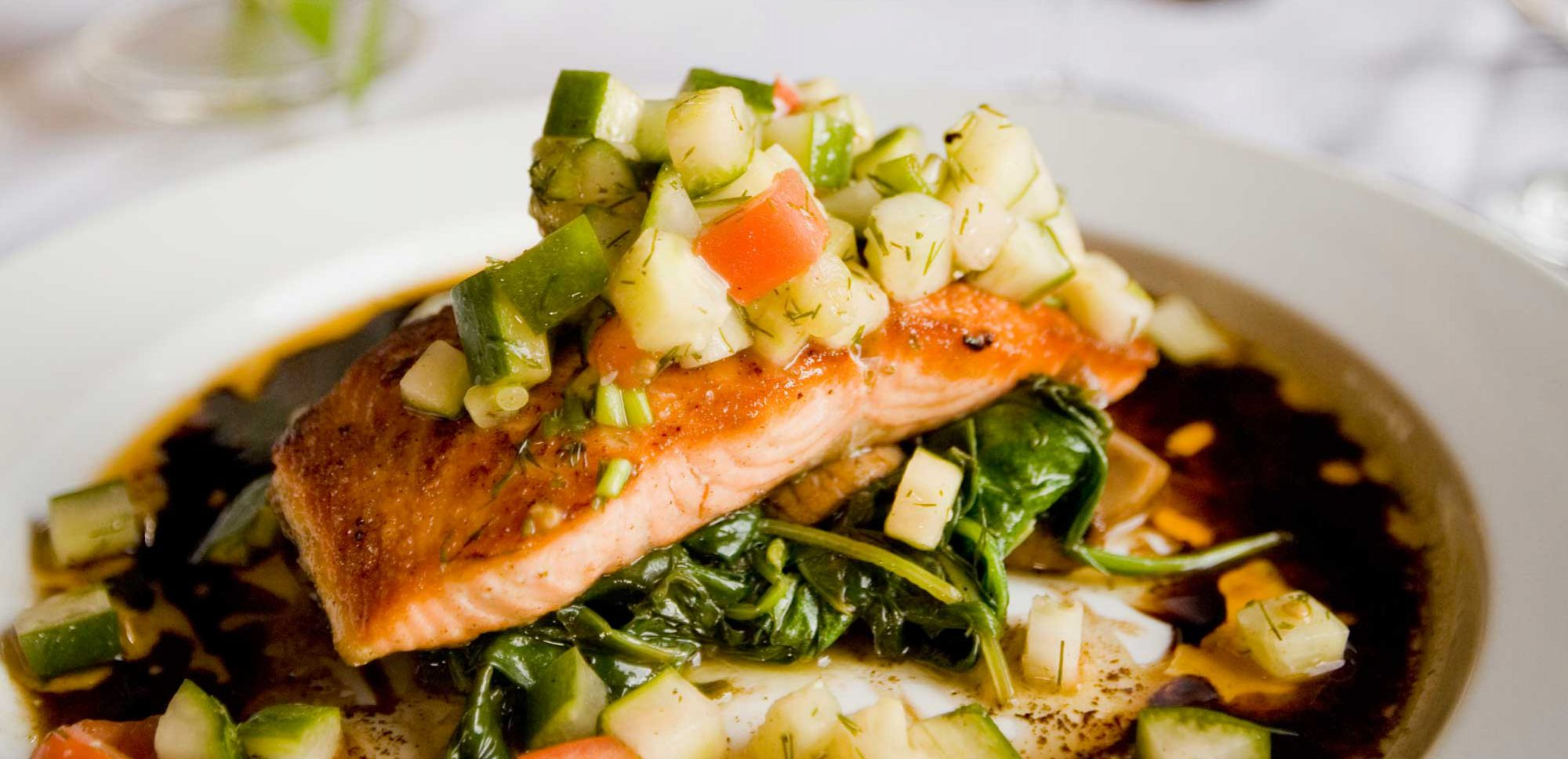 Salmon fillet dinner, Inlets Restaurant