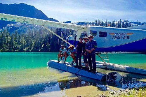 Float plane on lake